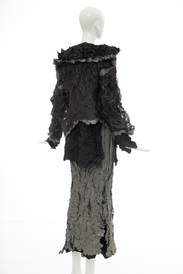 Issey Miyake Runway Chocolate Brown & Gunmetal Silver Skirt Suit, Fall 1999 For Sale 1