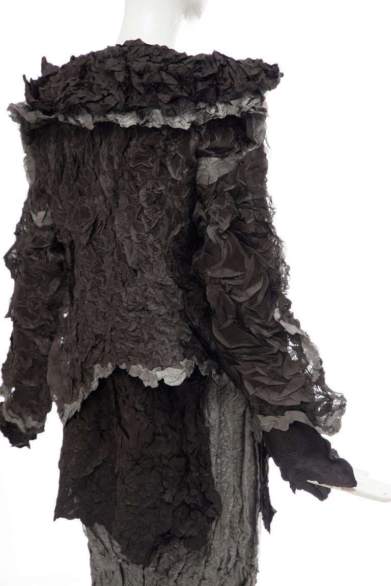 Issey Miyake Runway Chocolate Brown & Gunmetal Silver Skirt Suit, Fall 1999 For Sale 2