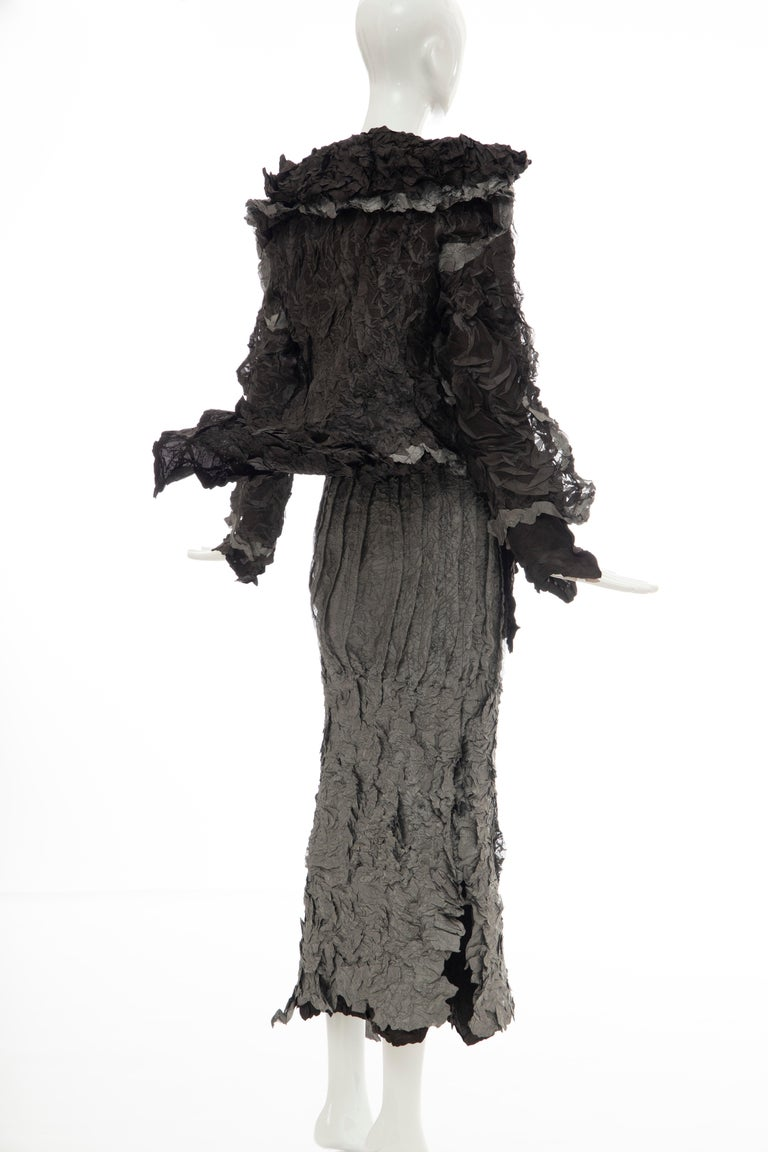 Issey Miyake Runway Chocolate Brown & Gunmetal Silver Skirt Suit, Fall 1999 For Sale 3