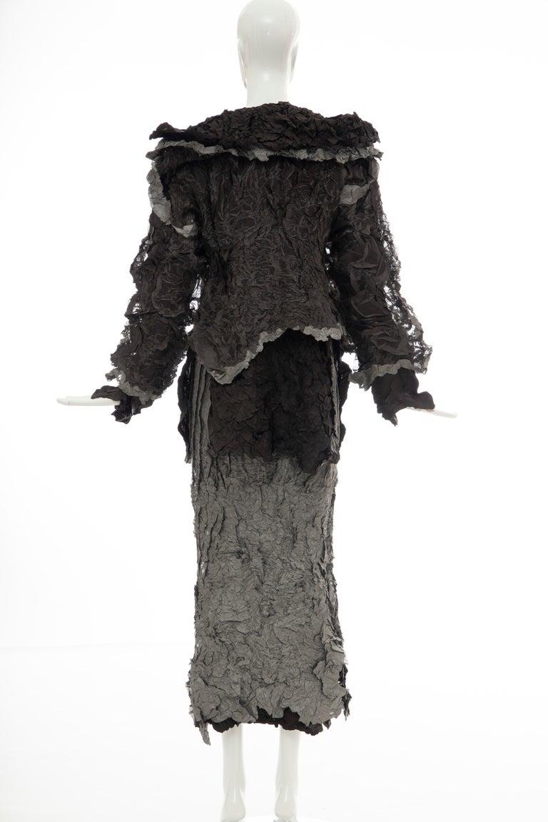 Issey Miyake Runway Chocolate Brown & Gunmetal Silver Skirt Suit, Fall 1999 For Sale 4