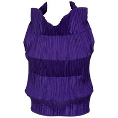 Issey Miyake Sculptural Pleated Purple Sleeveless Top, 1990s