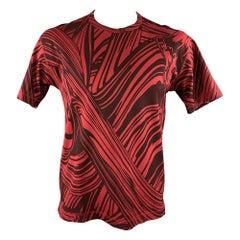 ISSEY MIYAKE Size L Red & Burgundy Brush Stroke Print Cotton T-shirt