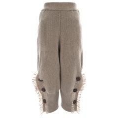 Issey Miyake taupe rib knit wool fringed shorts, ca. 1988