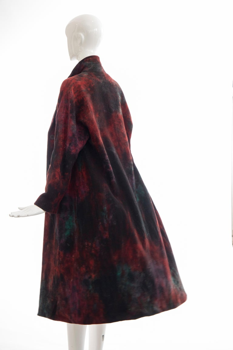 Issey Miyake Tie Die Wool Felt Button Front Silk Lined Coat, Circa: 1990's For Sale 5