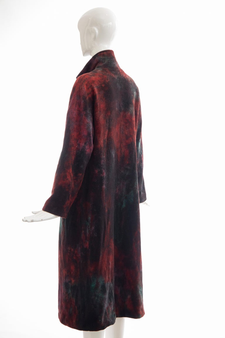 Issey Miyake Tie Die Wool Felt Button Front Silk Lined Coat, Circa: 1990's For Sale 6