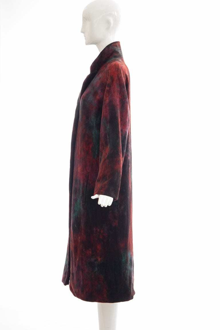 Issey Miyake Tie Die Wool Felt Button Front Silk Lined Coat, Circa: 1990's For Sale 7