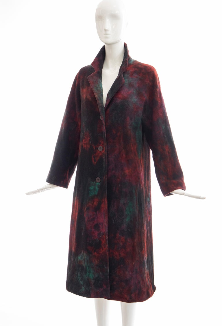 Issey Miyake Tie Die Wool Felt Button Front Silk Lined Coat, Circa: 1990's For Sale 8