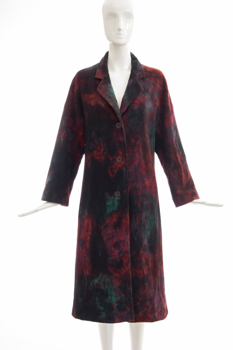 Issey Miyake Tie Die Wool Felt Button Front Silk Lined Coat, Circa: 1990's For Sale 9