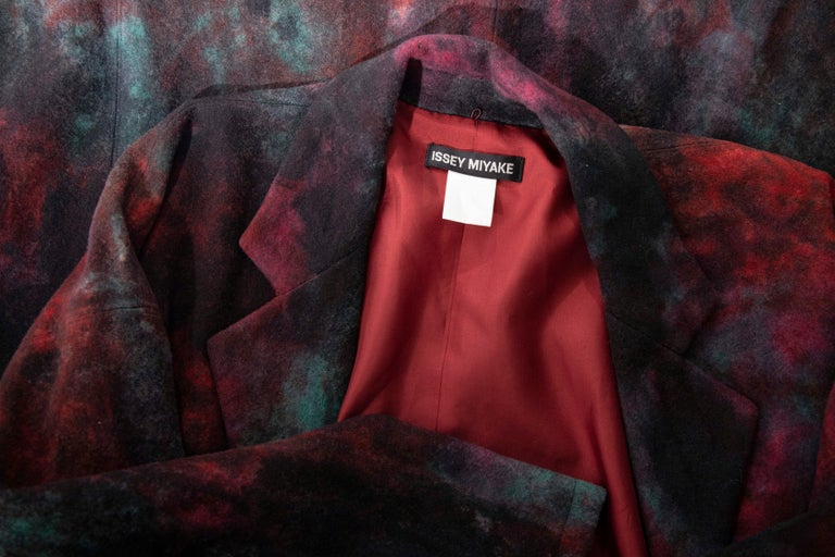 Issey Miyake Tie Die Wool Felt Button Front Silk Lined Coat, Circa: 1990's For Sale 11