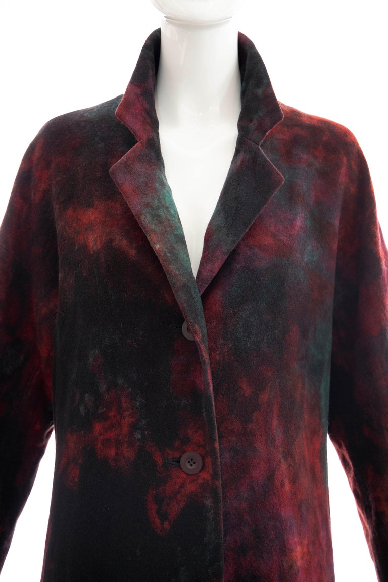 Black Issey Miyake Tie Die Wool Felt Button Front Silk Lined Coat, Circa: 1990's For Sale