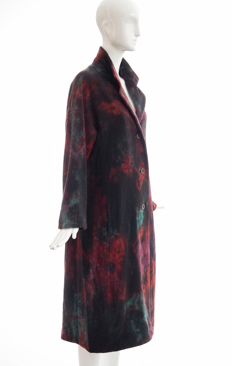 Issey Miyake Tie Die Wool Felt Button Front Silk Lined Coat, Circa: 1990's In Excellent Condition For Sale In Cincinnati, OH