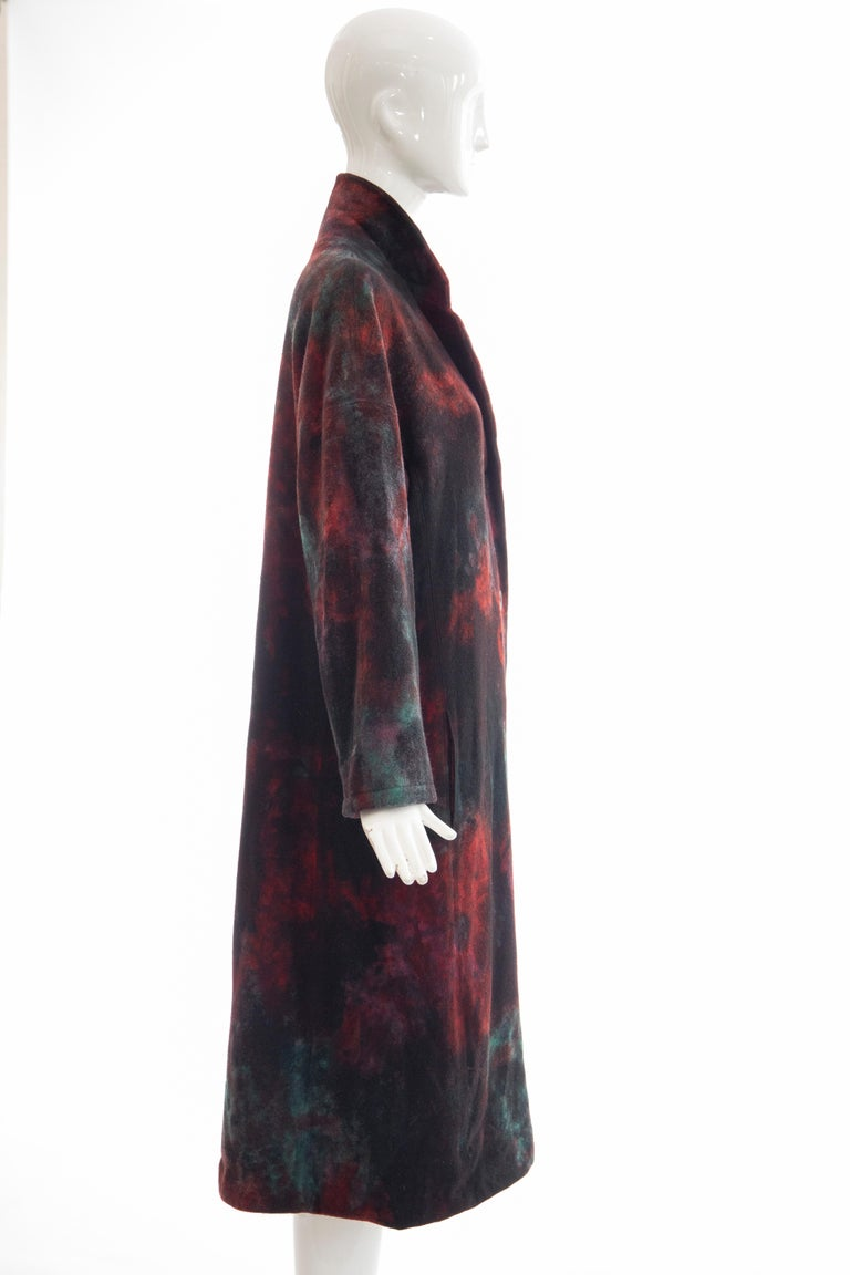 Women's Issey Miyake Tie Die Wool Felt Button Front Silk Lined Coat, Circa: 1990's For Sale