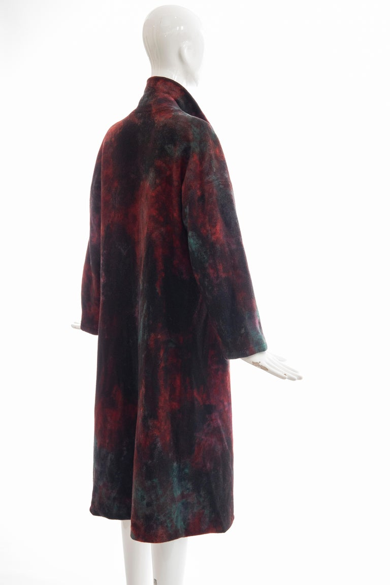 Issey Miyake Tie Die Wool Felt Button Front Silk Lined Coat, Circa: 1990's For Sale 1