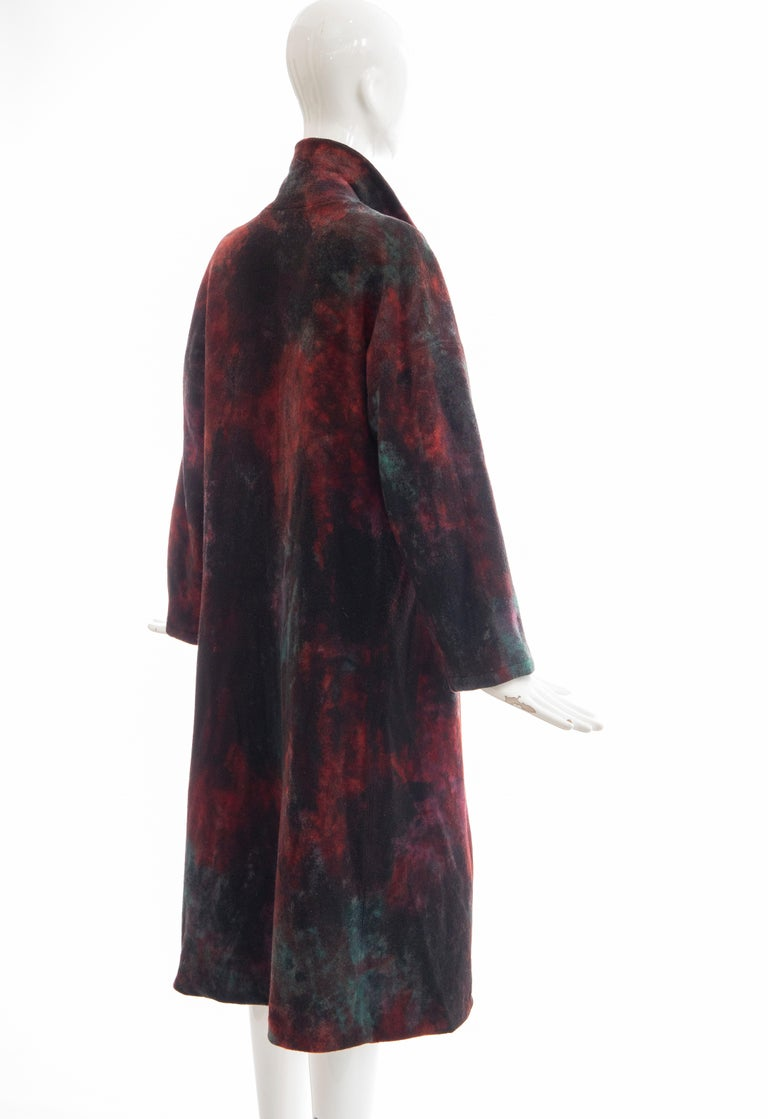 Issey Miyake Tie Die Wool Felt Button Front Silk Lined Coat, Circa: 1990's For Sale 2