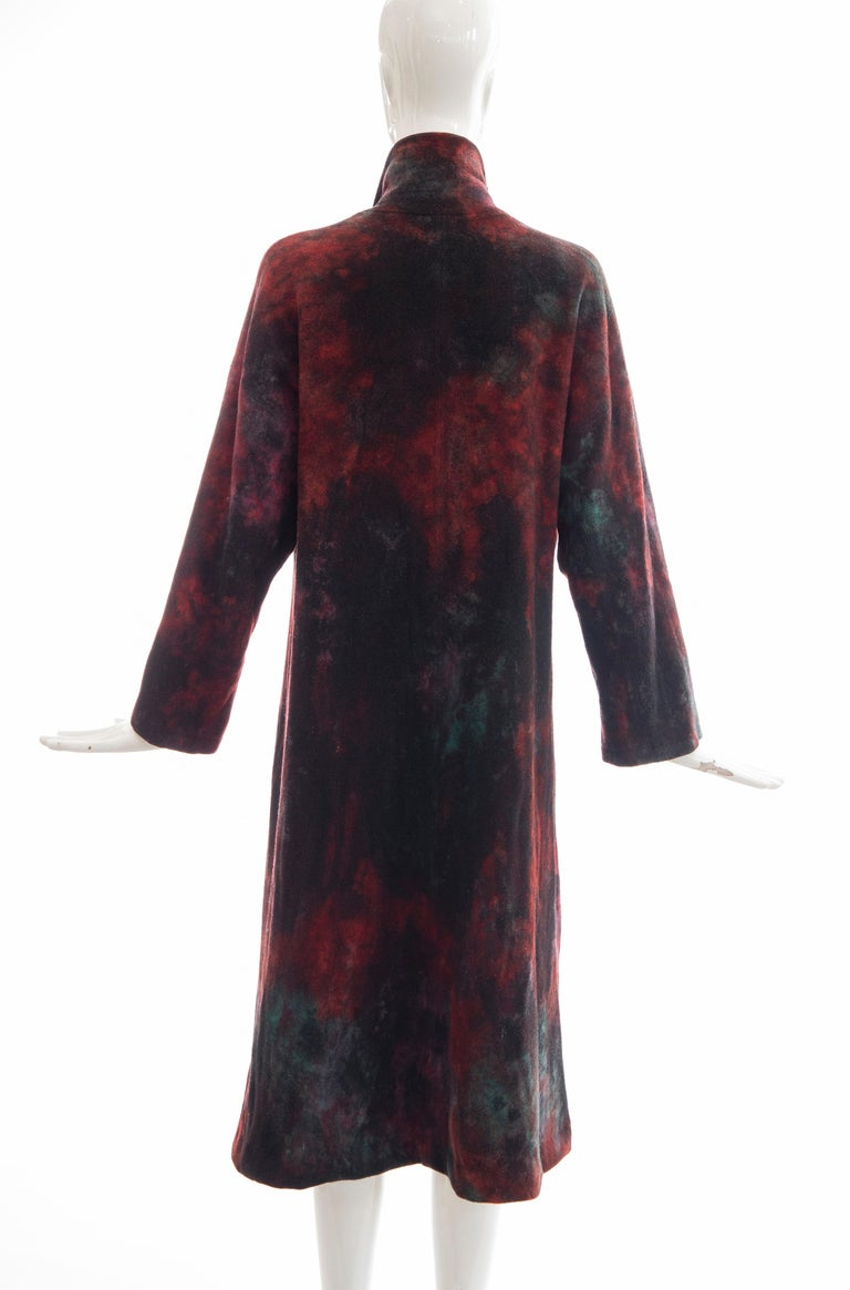 Issey Miyake Tie Die Wool Felt Button Front Silk Lined Coat, Circa: 1990's For Sale 3
