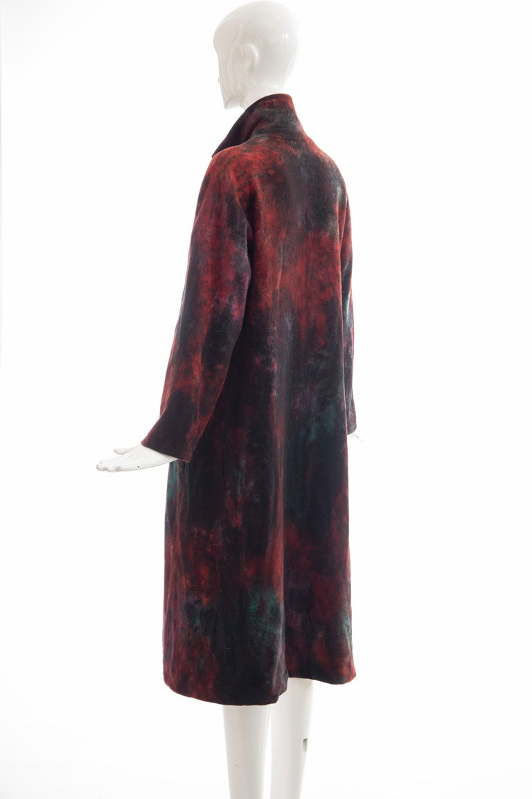 Issey Miyake Tie Die Wool Felt Button Front Silk Lined Coat, Circa: 1990's For Sale 4