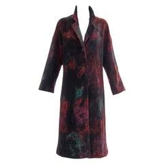 Issey Miyake Tie Die Wool Felt Button Front Silk Lined Coat, Circa: 1990's
