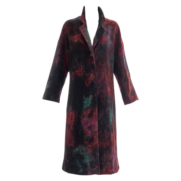 Issey Miyake Tie Die Wool Felt Button Front Silk Lined Coat, Circa: 1990's For Sale