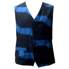 Issey Miyake Tie Dye Blue and Black Waistcoat