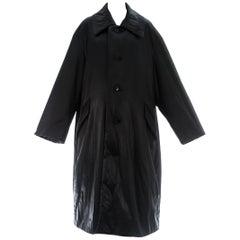 Issey Miyake unisex oversized black nylon puffer coat, c. 1990s