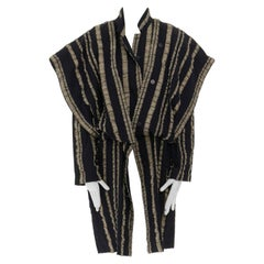 ISSEY MIYAKE Vintage 1980s black gold striped samurai shoulder wool coat M