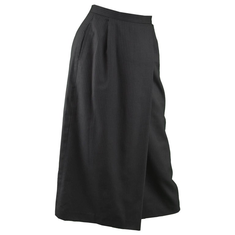 Issey Miyake Vintage 1980s Dark Charcoal Gray Women's Long Midi Pinstripe Skirt