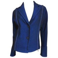 Issey Miyake Blue Wool Jacket with Zipper Parachute Panels