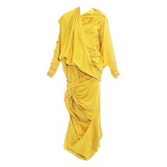 Issey Miyake yellow draped, pleated and knotted parachute ensemble, fw 1986
