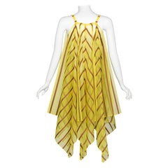 Issey Miyake Yellow Organza Brown Striped Handkerchief Dress