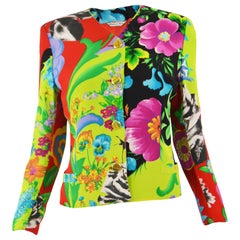 Istante by Gianni Versace Bright Tropical Print Women's Vintage Jacket, 1980s