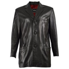 Istante by Gianni Versace Men's Vintage Classic Black Leather Jacket, 1990s