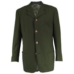 Istante by Gianni Versace Men's Vintage Dark Green Wool Blazer Jacket, 1990s