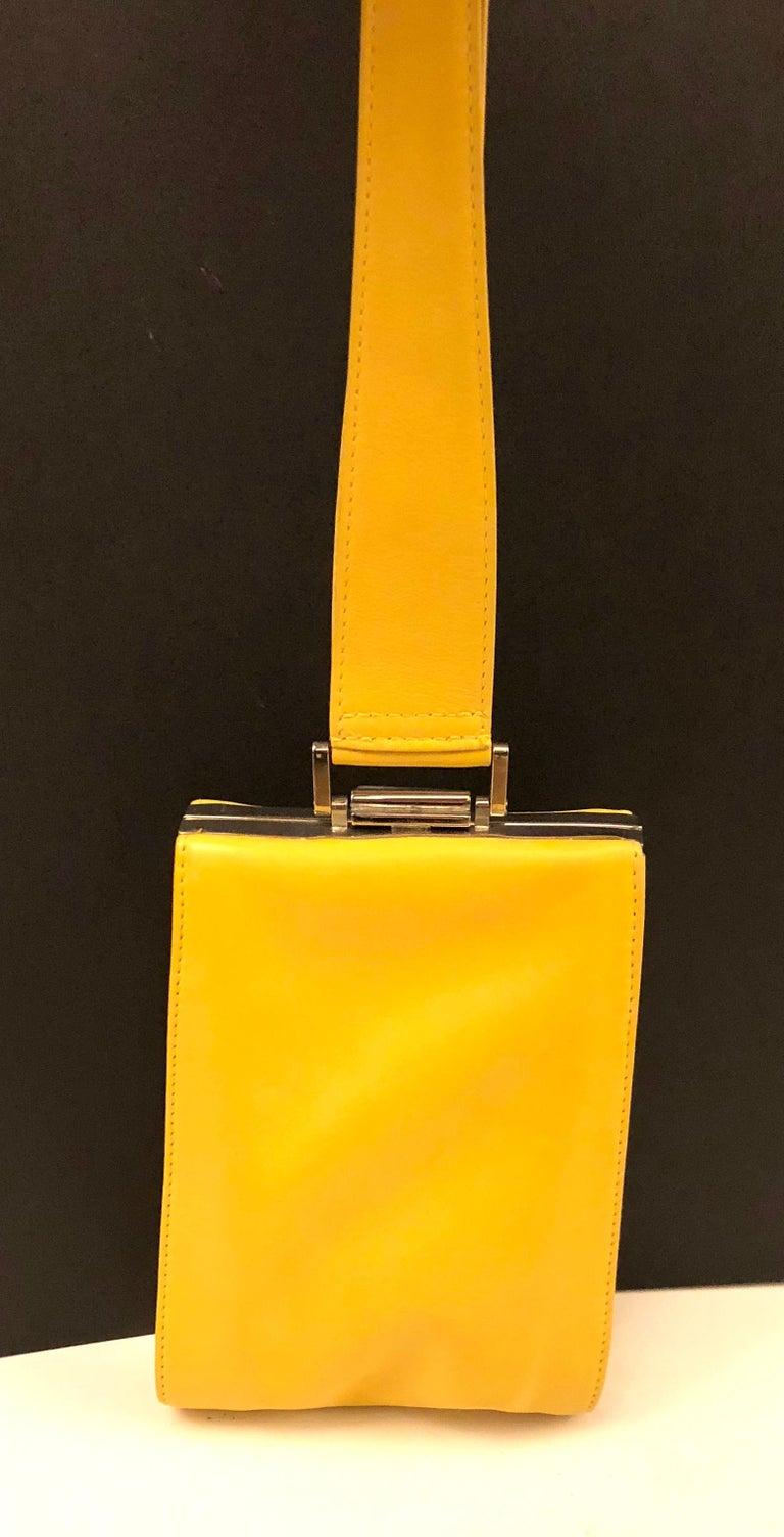 Yellow Istante by Gianni Versace yellow lambskin handbag For Sale