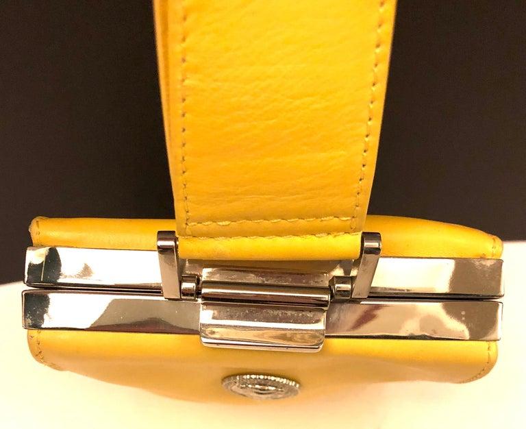 Women's Istante by Gianni Versace yellow lambskin handbag For Sale