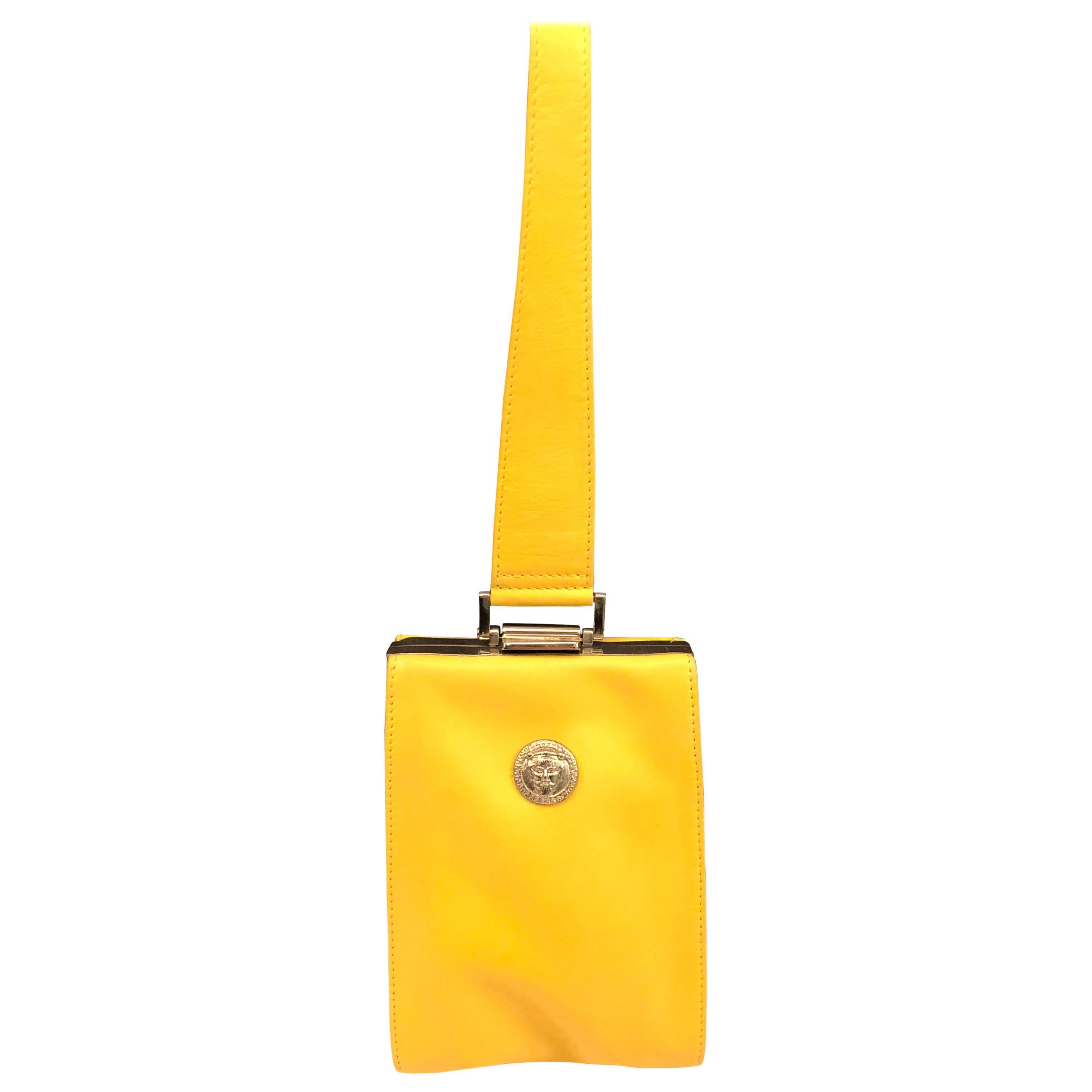 Istante by Gianni Versace yellow lambskin handbag