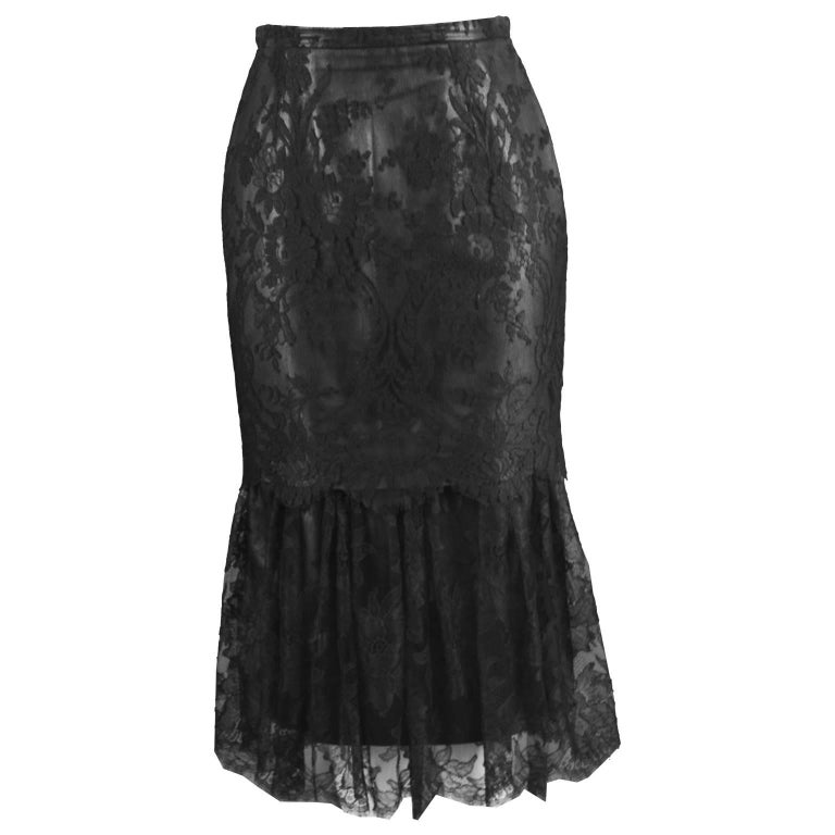 Istante by Versace Vintage 1990s Italian Leather & Lace Black Fishtail Skirt