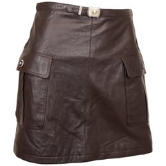 Istante by Versace Zeus Buckle Brown Leather Mini Skirt
