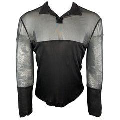 ISTANTE Versace Size M Black SHeer & Opaque Long Sleeve Polo Shirt