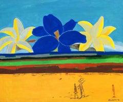 Departure amongst lilies - Oil figurative painting, Flowers, Vibrant, Colorful