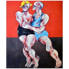 It Takes Two to Tango, Yellow Hat and Blue Outfit on a Red and Black Background