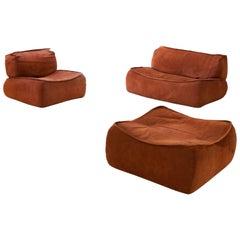 Italian Cognac Suede Leataher Sofa Set by Arcon, 1970s