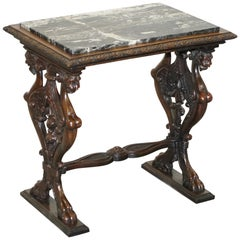 Italian circa 1840 Ornately Hand Carved Oak Side Table with Solid Marble Top