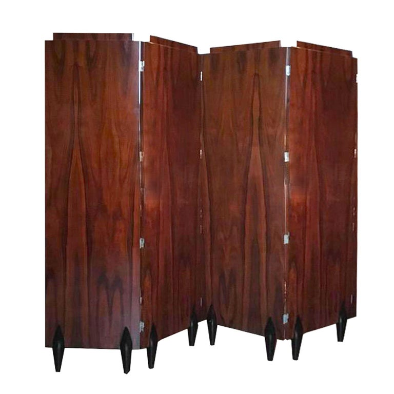 Italy Contemporary Four Folders Polished Walnut Screen in Deco Style In New Condition For Sale In Brescia, IT