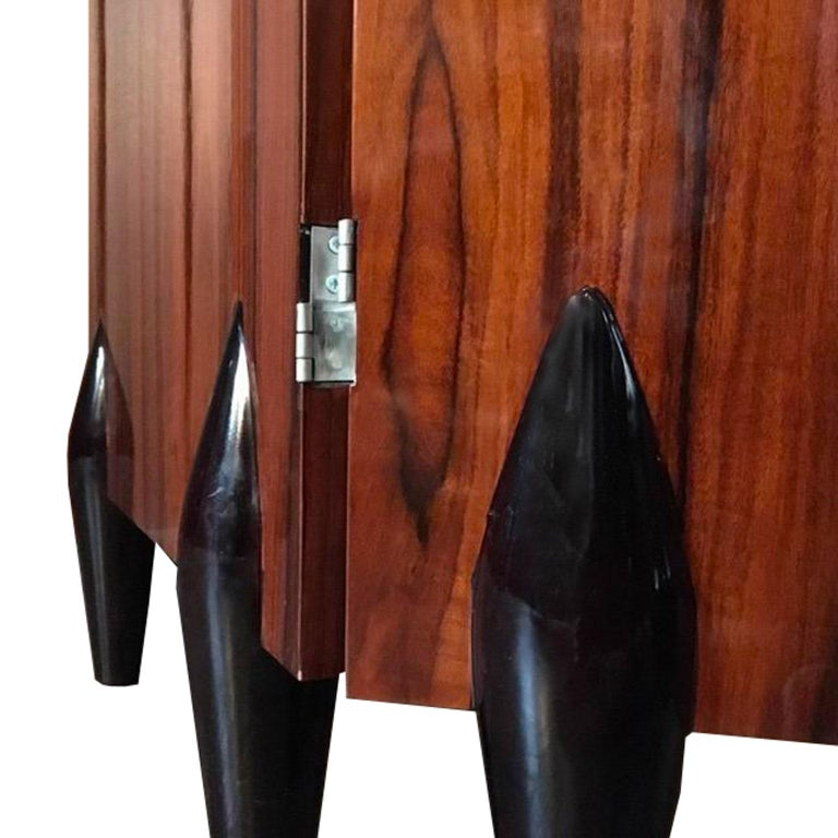 Italy Contemporary Four Folders Polished Walnut Screen in Deco Style For Sale 1