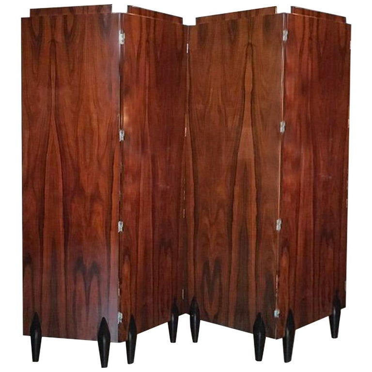 Italy Contemporary Four Folders Polished Walnut Screen in Deco Style For Sale