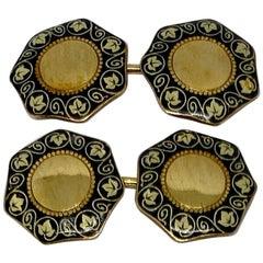 Italia Liberty 'Art Nouveau' Cufflinks in 18 Karat Yellow Gold