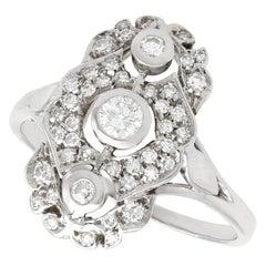 Italian 0.99 Carat Diamond and 18 Karat White Gold Dress Ring
