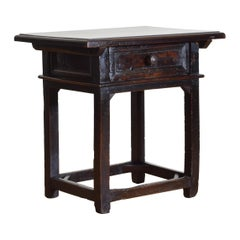 Italian 1-Drawer Work Table in Patinated Dark Walnut