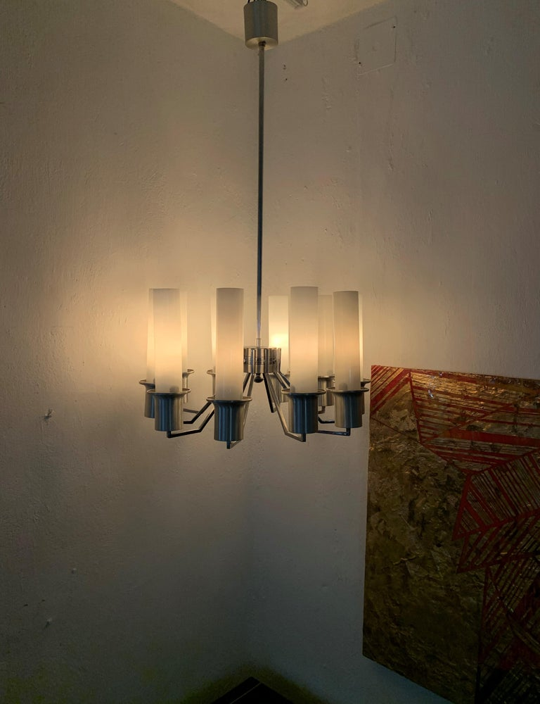 Italian 10-Light Mid-Century Modern Chandelier ITSO Artemide, circa 1970 For Sale 9