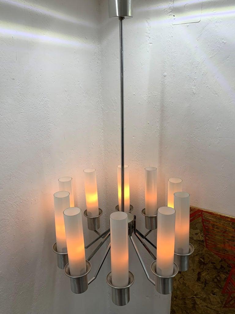 Italian 10-Light Mid-Century Modern Chandelier ITSO Artemide, circa 1970 For Sale 12